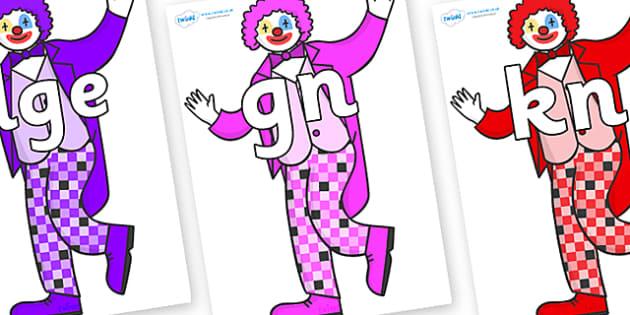 Silent Letters on Clowns - Silent Letters, silent letter, letter blend, consonant, consonants, digraph, trigraph, A-Z letters, literacy, alphabet, letters, alternative sounds