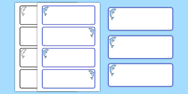 Dolphin Themed Drawer Peg Name Labels (Blank) - Themed Classroom Label Templates, Resource Labels, Name Labels, Editable Labels, Drawer Labels, Coat Peg Labels, Peg Label, KS1 Labels, Foundation Labels, Foundation Stage Labels, Teaching Labe