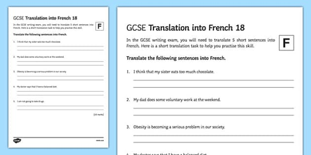 GCSE French: Translation into French -  Foundation Tier Activity Sheet 18, worksheet