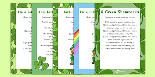 St. Patrick's Day Themed Songs and Rhymes Resource Pack - St Patricks day, songs, rhymes, pack