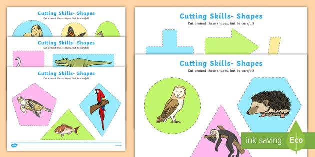 Cutting Skills Worksheets (Shapes) - Scissor skills, cutting, cutting worksheet, using scissors, cutting skills, fine motor skills