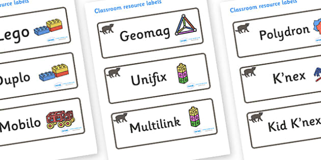 Panther Themed Editable Construction Area Resource Labels - Themed Construction resource labels, Label template, Resource Label, Name Labels, Editable Labels, Drawer Labels, KS1 Labels, Foundation Labels, Foundation Stage Labels