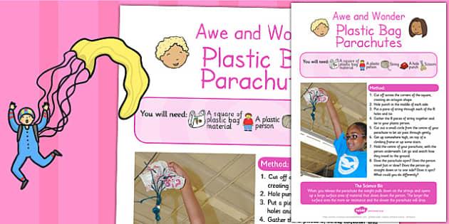Plastic Bag Parachutes Awe and Wonder Science Activity - plastic