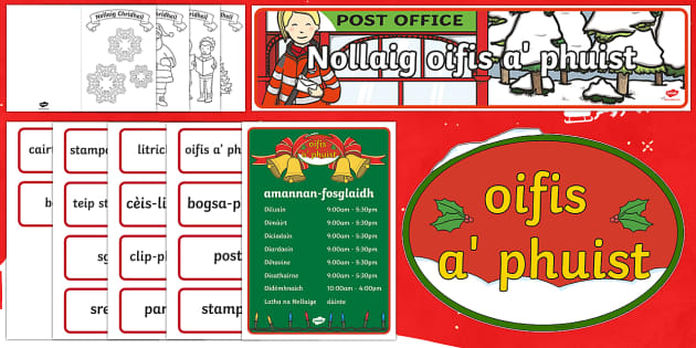 CfE Christmas Post Office Role Play Pack (Scottish Gaelic) - CfE Christmas - Scottish Gaelic Translation, Role Play,Post Office,Scottish
