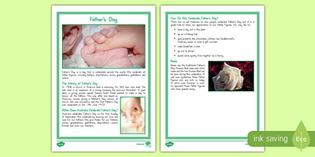 Australia Father's Day Fact File