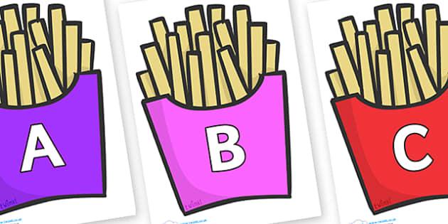 A-Z Alphabet on French Fries - A-Z, A4, display, Alphabet frieze, Display letters, Letter posters, A-Z letters, Alphabet flashcards