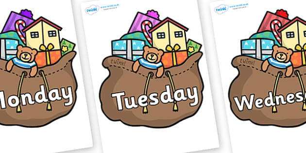 Days of the Week on Christmas Presents - Days of the Week, Weeks poster, week, display, poster, frieze, Days, Day, Monday, Tuesday, Wednesday, Thursday, Friday, Saturday, Sunday