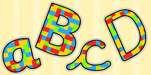 Building Brick Themed Size Editable Display Lettering - toys, letters, Building Brick