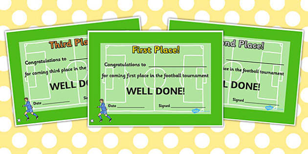 Football Tournament Certificates - certificate, rewards, reward