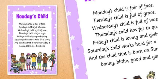 Mondays Child Nursery Rhyme Poster - rhymes, display, poems