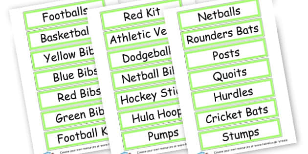 PE Labels - PE and Sports Primary Resources, Sports, PE, Physical Education