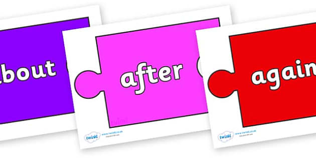 KS1 Keywords on Jigsaw Pieces - KS1, CLL, Communication language and literacy, Display, Key words, high frequency words, foundation stage literacy, DfES Letters and Sounds, Letters and Sounds, spelling