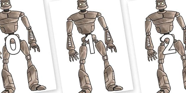 Numbers 0-31 on The Iron Man - 0-31, foundation stage numeracy, Number recognition, Number flashcards, counting, number frieze, Display numbers, number posters