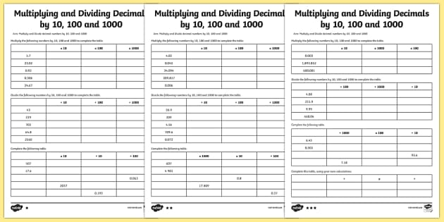 Year 6 Multiplying and Dividing Decimals by 10 100 and 1000 – Multiplying by 10 100 and 1000 Worksheets