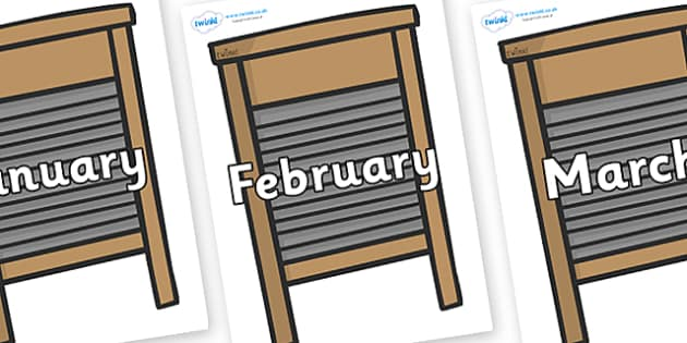 Months of the Year on Washing Boards - Months of the Year, Months poster, Months display, display, poster, frieze, Months, month, January, February, March, April, May, June, July, August, September