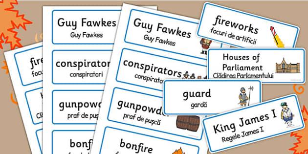 The Gunpowder Plot Topic Word Cards Romanian Translation - romanian