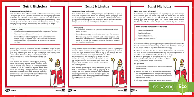 KS1 Saint Nicholas Differentiated Fact File - Christmas, Father Christmas, Santa, Saint, Saint Nicholas, patron, gift, giving, present, Turkey, Ch