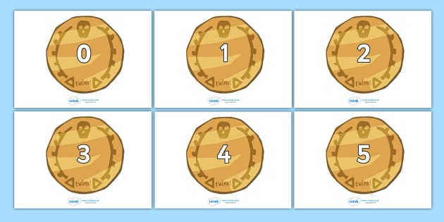 Numbers 0-31 on Pirate Coins - 0-31, foundation stage numeracy, Number recognition, Number flashcards, counting, number frieze, Display numbers, number posters