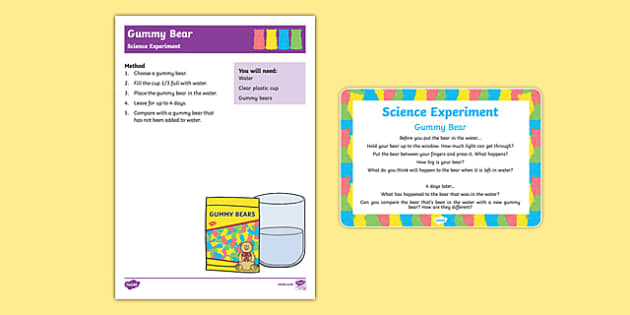 EYFS Gummy Bear Science Experiment and Prompt Card Pack