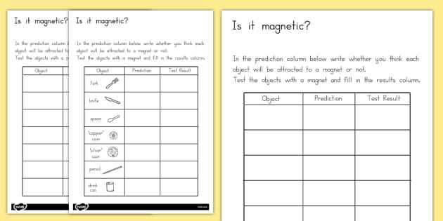 Magnetic Objects Worksheet - australia, magnetic objects, sheet