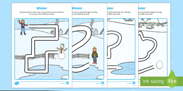 Winter Themed Pencil Control Activity Sheets