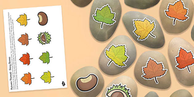 Autumn Themed Story Stone Image Cut Outs - autumn, season, story stones, stone art, painted rocks, story telling,