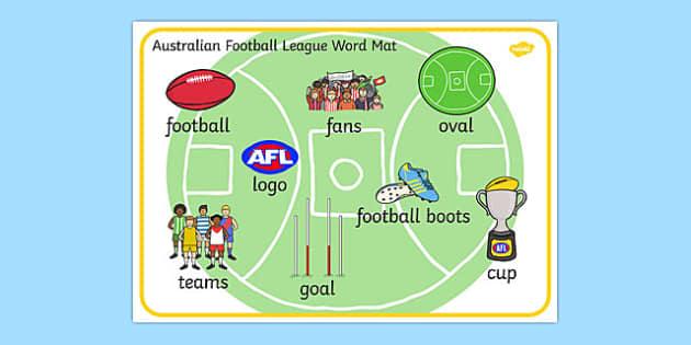Australian Football League Word Mat - AFL, sports, football