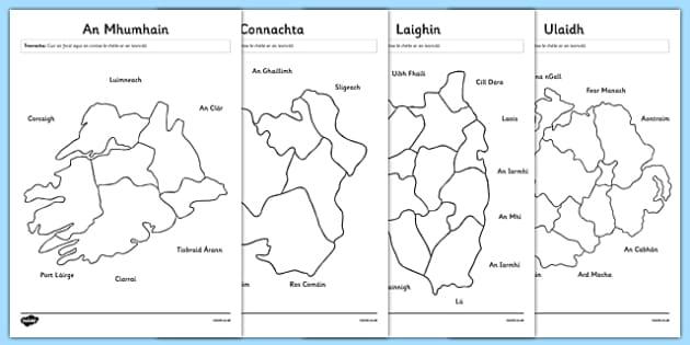 Irish Provinces and Counties of Ireland Matching Activity Sheets Gaeilge - Ireland, Reuplic, Gaeilge, provinces, geography, ROI, Irish, worksheet