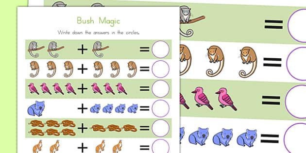 Bush Magic Up to 10 Addition Sheet - australia, bush magic, possum magic, addition