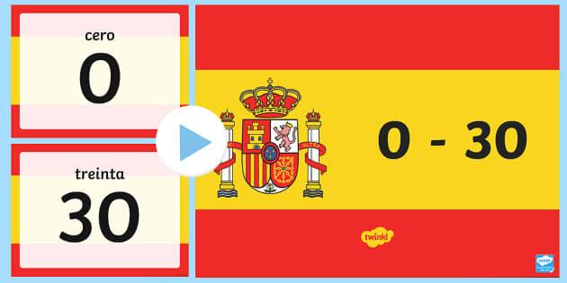 Basic Spanish Numbers 0-30 PowerPoint - basic vocabulary, basic, vocabulary, numbers, 0-30, 30, powerpoint, presentation