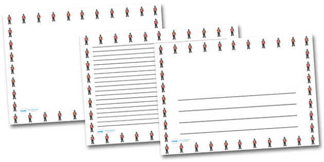 Victorian Soldier Landscape Page Borders- Landscape Page Borders - Page border, border, writing template, writing aid, writing frame, a4 border, template, templates, landscape