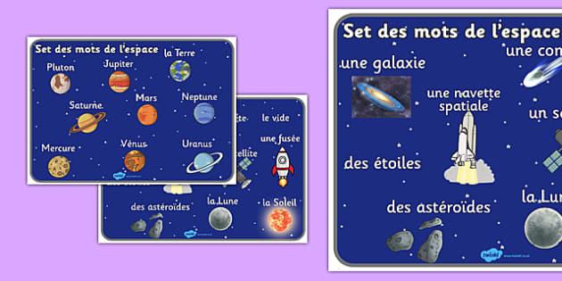 Set des mots de l'espace Français - Français, espace, mot mat, word, mat, France, francais
