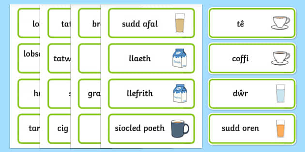Food Word Cards Welsh - food, word cards, flashcards, cards, Welsh, Wales, languages, different food,cymru