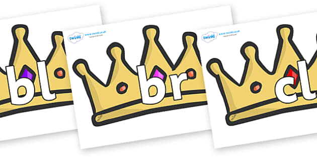 Initial Letter Blends on Crowns - Initial Letters, initial letter, letter blend, letter blends, consonant, consonants, digraph, trigraph, literacy, alphabet, letters, foundation stage literacy