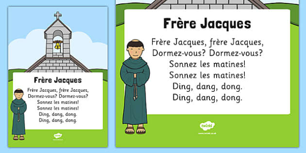 Frère Jacques Song Print Out - frère jacques, song, print out, rhyme, nursery rhyme, french, brother john