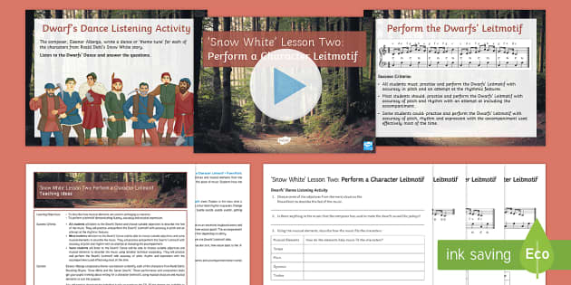 Snow White 2: Perform a Character Leitmotif Lesson Pack - Snow White, Composition, rhythm, pitch, tempo, timbre, Leitmotif, performance, performing, keyboard,