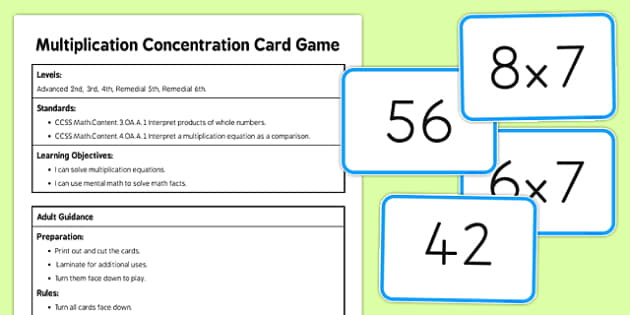 Multiplication Concentration Card Game - US Resources, Multiplication, Operations and Algebraic Thinking, OA, 2nd, 3rd, 4th, 5th