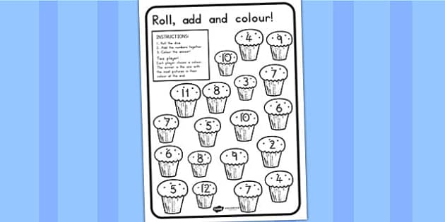 Cupcake Roll and Colour Dice Addition Activity - food, dice games