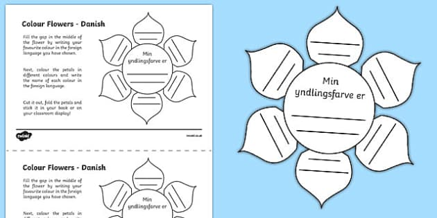 MFL Danish Colour Flowers Activity Sheet, worksheet