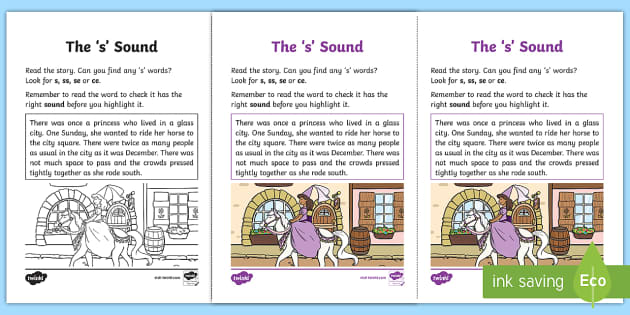 Northern Ireland Linguistic Phonics Stage 5 and 6 Phase 3b, 's' Sound Activity Sheet - Linguistic Phonics, Phase 3b, Northern Ireland, 's' sound, sound search, text, Worksheet