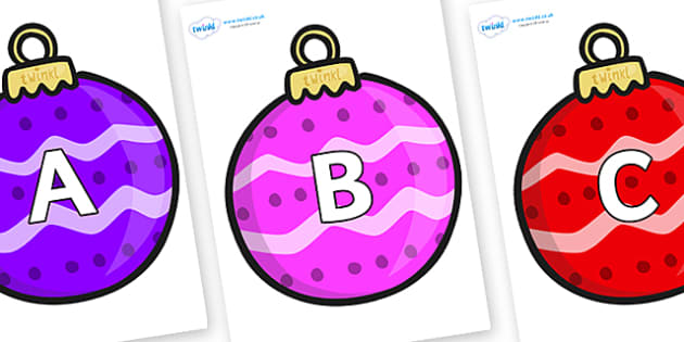 A-Z Alphabet on Patterned Baubles (Multicolour) - A-Z, A4, display, Alphabet frieze, Display letters, Letter posters, A-Z letters, Alphabet flashcards