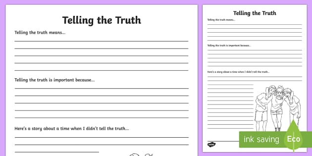 Telling the Truth Reflection Writing Template - writing template, truthfulness, S.P.H.E., self assessment, feelings, social, personal and health education, myself