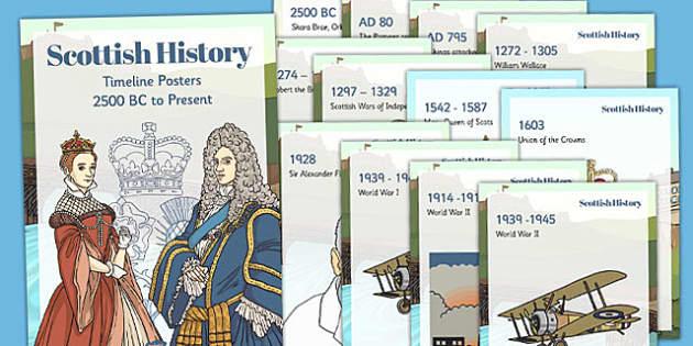 Scottish History Timeline Display Posters - scottish, history