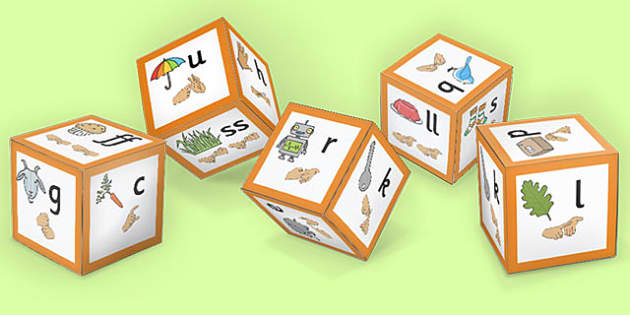 Phase 2 Phoneme Sound Dice Net with Images and British Sign Language