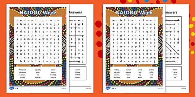 NAIDOC Week Word Search Word Search-Australia