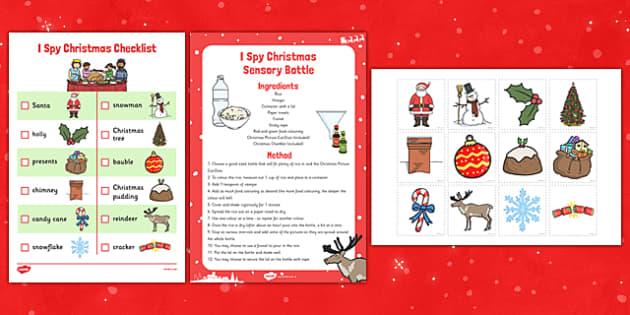 Christmas I Spy Sensory Bottle and Activity Pack - christmas, I spy, sensory, bottle, activity, pack
