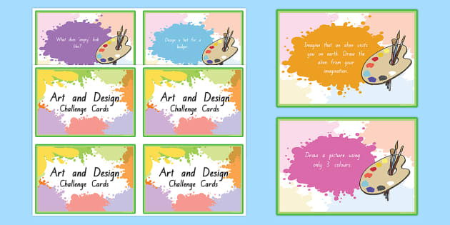 Art and Design Challenge Cards - nz, new zealand, art, design, challenge, cards