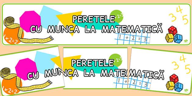 Peretele cu munca la matematică - Banner - decorul clasei, Romanian
