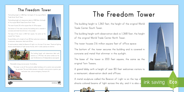 Freedom Tower Fact File - Patriot Day, September 11th, World Trade Center, freedom tower, fact file