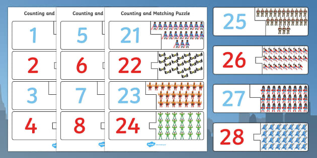 Superhero Themed Counting Matching Puzzle - count, match, puzzles